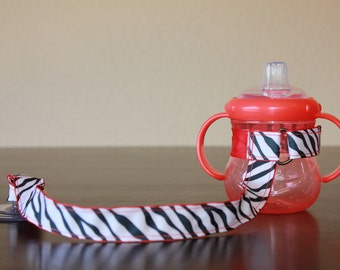 Sippy Cup Leash, Sippy Cup Strap, Suction Sippy Strap, Toddler Gift, Christmas Gift, New Mom Gift - Zebra Red