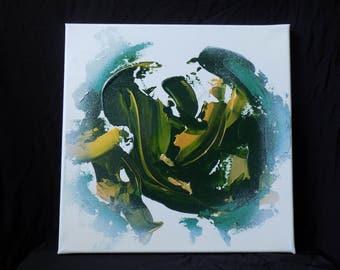 12x12, green modern art, abstract painting, abstract expressionism art, abstract wall art, original art