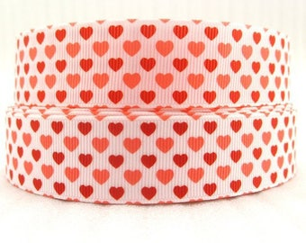Heart 25mm grosgrain Ribbon sold by the Red meter