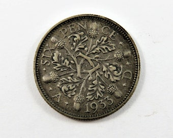 Great Britain 1933 Silver Sixpence Coin.