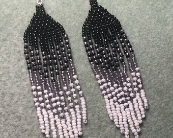 Ombre black and white dangle earrings