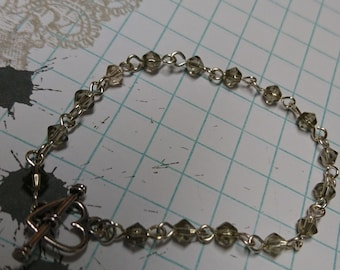 Smokey Grey Glass Bead Bracelet