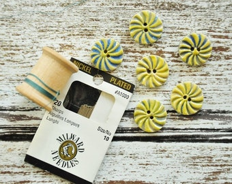 Yellow and Blue Clay Buttons, Ceramic Buttons, Pinwheels, Lolipops, Handmade Buttons, Fun