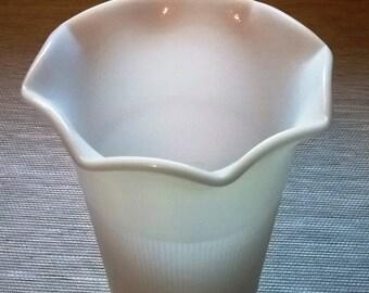 Vintage Anchor Hocking Ribbed White Milk Glass Ribbed Vase