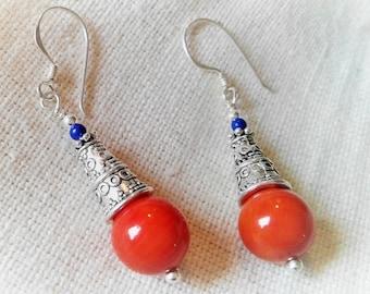 Ethnic earrings- Coral- Jewels Silver- Stone- Boho-Smart