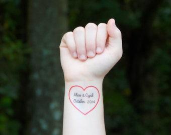 Custom Heart Temporary Tattoo - Red Heart Tattoo, Wedding Favor, Personalized Name Tattoo