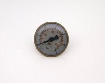 Steampunk Pressure Gauge Tie Tack in Antique Brass  16mm
