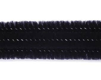"""25, 3mm, Black Chenille Stems, Pipe Cleaners, 12"""" Long"""