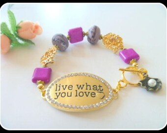 Live What You Love Message Purple Ceramic Beaded Bracelet