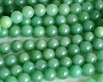 """High Quality AAA Natural Genuine Imperial Green Aventurine Jade Round Loose Gemstone Beads 6mm 8mm 16"""" 04133"""