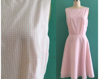 robe en Vichy Rose Vintage / / robe chemisier printemps rose