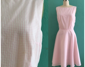 vintage pink gingham dress // pink spring shirtwaist dress
