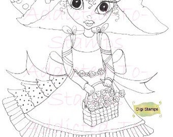 INSTANT DOWNLOAD Digi Stamps tuin Nellie Lil Ragamuffin Dollies bloemmand door Sherri Baldy