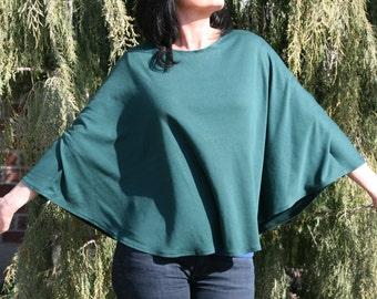 Ladies Emerald Green Capelet Poncho Top