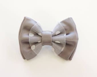 grey satin ribbon and white polka dot tulle brooch
