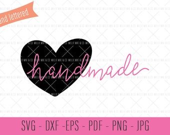 Handmade SVG, Hand Lettered Cut File, Hand Lettered SVG, Handmade with Heart, Hand Lettered Clip Art, Hand Lettered Quote, SVG Cut Files