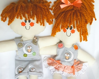 LillieGiggles Rag Dolls  Little Owl on the Moon Lighter Boy and Girl Rag doll set with poster Handmade