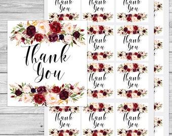Marsala wedding, floral thank you tag, marsala thank you, boho thank you tags, boho favor tags, boho thank you, tribal favor tags, A100