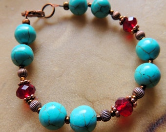 Turquoise and Garnet Crystal Bracelet, Copper Jewelry