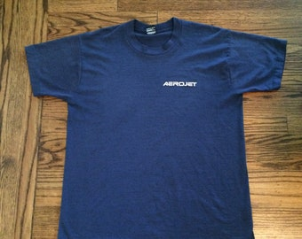 Vintage men's 1970's/80's paper thin aerojet tshirt. Size large