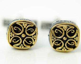 925 Sterling Silver ,Gold Plated Cross Cufflinks