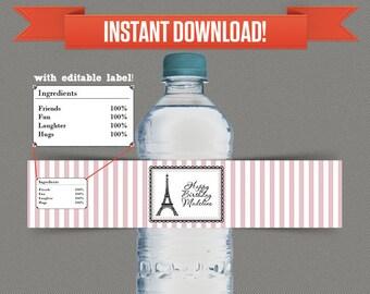 Oh la la Paris / Parisian Party Printable Birthday Bottle Labels / Napkin Rings - Editable PDF file - Print at home