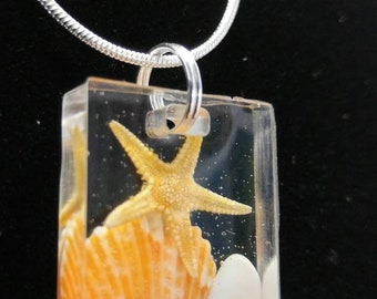 SW FL Beach Bright Orange Scallop & Coquina Shell, Natural Starfish Resin Pendant and Necklace Jewelry