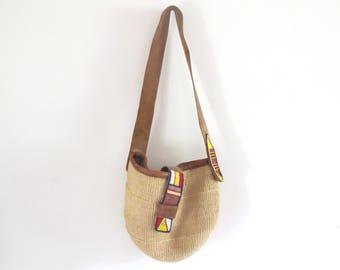 Tribal Sisal Jute and leather beaded hippie  tote bag, basket bag , African Bag
