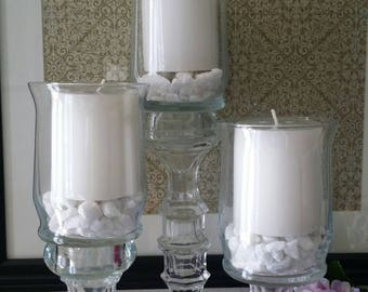 3 piece glass candle holder centerpiece set