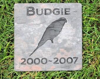 Personalized Parakeet Bird Memorial Stone Grave Marker 6 x 6 Inch Memorial Stone Marker Parrot Memorial Stone