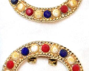 Shoe Clips, Decorative, Goldtone, Red/White/Blue, Vintage, 1970s