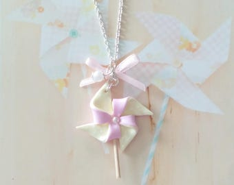 necklace pastel windmill polymer clay