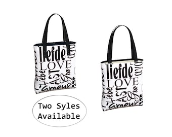 Love Heart Tote Bag, Canvas ToteBag, Big Library Book Bag, Carry All Carryall, Beach Yoga, Market Grocery Bag, Eco Friendly, White Black