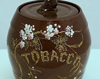 EDWARDIAN Early C20th STAFFORDSHIRE Pottery Tobacco Humidor Hand Painted