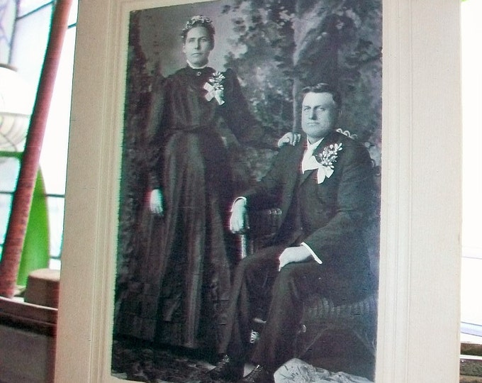 Antique Cabinet Card Photograph Victorian Married Couple 9 x 6