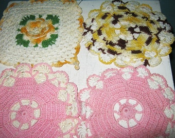 Four Crocheted Potholders, Vintage Crochet, Two Pink Round, One Square Yellow and White, One Round Yellow And Brown, Six Inch Diameter