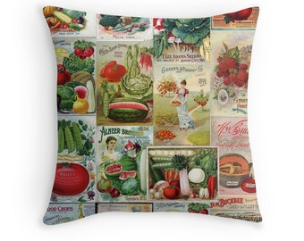 Fruits and Vegetables, Gift for Vegetarian, Fruit Pillow, Vegetarian Decor, Gardener Gift, Watermelon Cushion, Veggie Pillow, Veggie Cushion