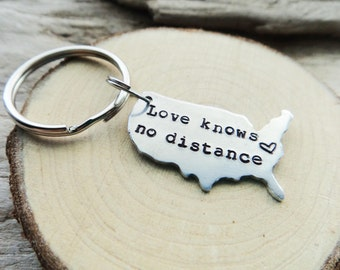 Love Knows No Distance Keychain- Long Distance Relationship Key chain- Separated Couple United States Keyring- Best Friends Stamped Keychain