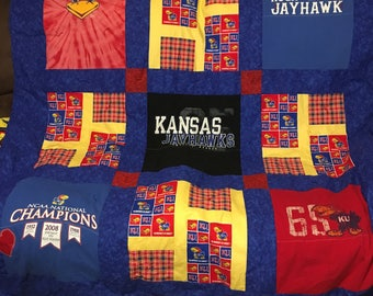 Kansas University Jayhawk T Shirt Memory Quilts
