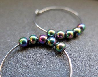 rainbow hematite earrings. niobium hoops. hypoallergenic jewelry.