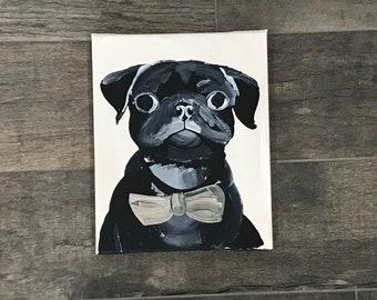 Black Pug. Acrylic Painting.