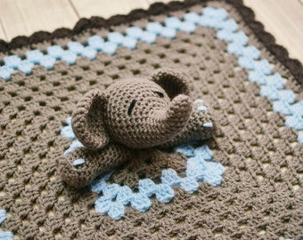 Elephant Lovey, Blue and Gray Elephant Security Blanket, Blankie, MADE TO ORDER