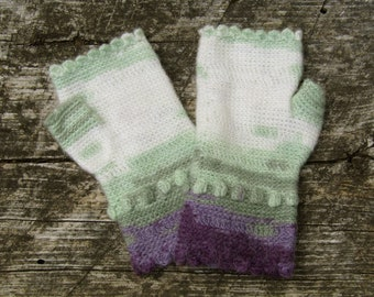 Lavender, Green and Cream Scalloped Fingerless Gloves crocheted feminine wrist warmers texting gloves