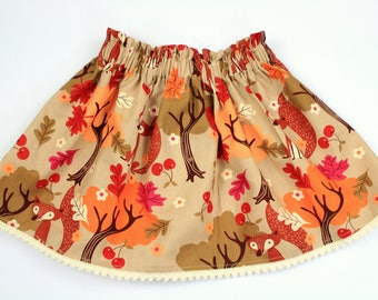 Fall Girls Skirt, Fox Skirt, Forrest and Woodland Animal Skirt