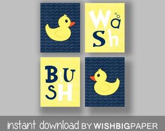 Rubber Duck Wash Brush Bathroom Wall Art Prints -Set of Four (4)-Instant Download. Kids Bathroom Art. Kids Bathroom Decor. Duck Art
