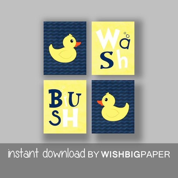 Rubber Duck Wash Brush Bathroom Wall Art Prints Set of Four