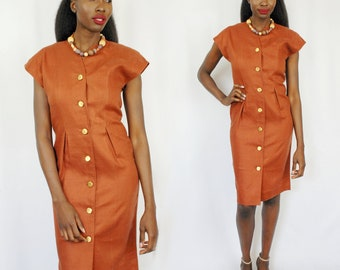 Beautiful burnt umber 40s style linen midi dress with gold buttons 1990s 90s VINTAGE