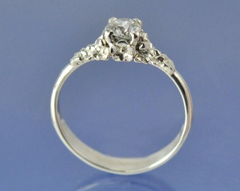 Forget Me Not Flower Diamond Engagement Ring