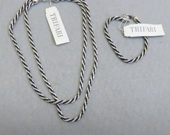 1970's Trifari 30 Inch Black and Silver Necklace and Bracelet Set, MINT with Tags