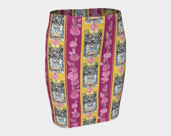 Floral Tarot Print - The Lovers  - Fitted Skirt - Pencil Skirt
